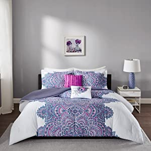 Intelligent Design- Mila Comforter Set Twin/Twin XL Size - Purple, Medallion – 4 Piece Bed Sets – All Season Ultra Soft Microfiber Teen Bedding - Perfect For Dormitory - Great For Girls Bedroom