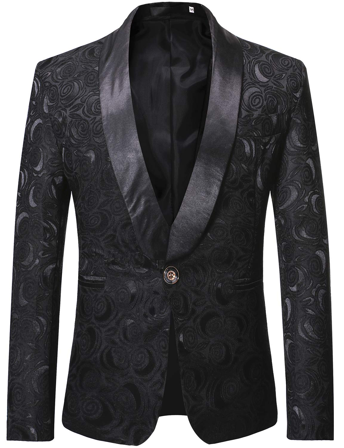ZEROYAA Men's 1 Button Shawl Collar Wedding Dress Suit Black Rose Jacquard Dinner Jacket Prom Tuxedo ZZST02 Black Large by ZEROYAA