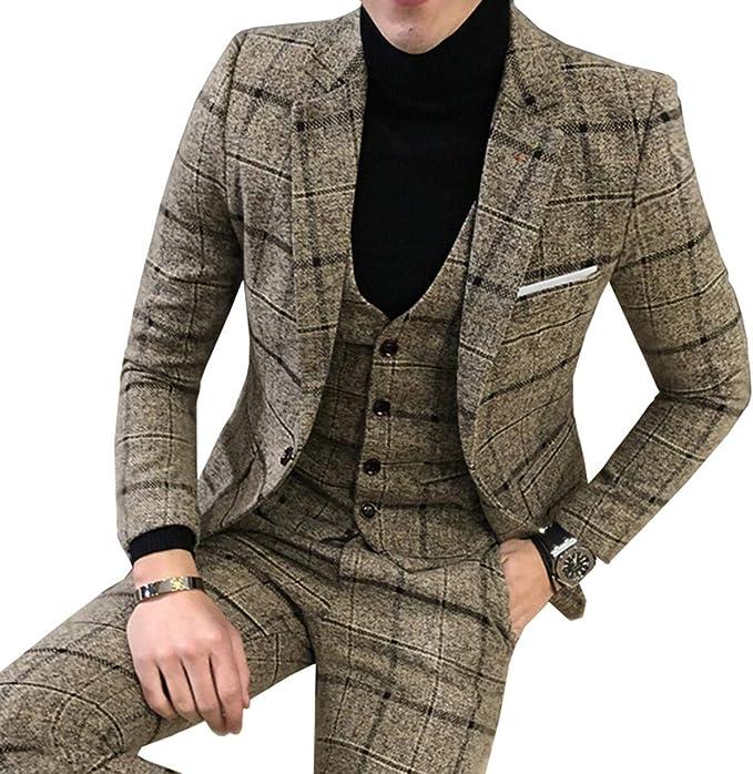 LoveeToo Mens 3 Piece Tweed Suit Plaid One Button Blazer ...