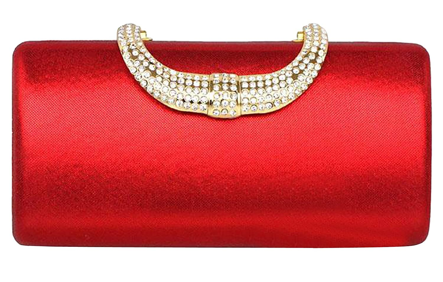 Stylebek Women's Solid Color Rhinestone Clutch Bag Red One Size