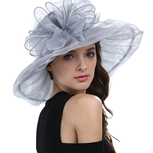 Janey&Rubbins Women's Kentucky Derby Party Hats Church Organza Dress Caps (Silver)