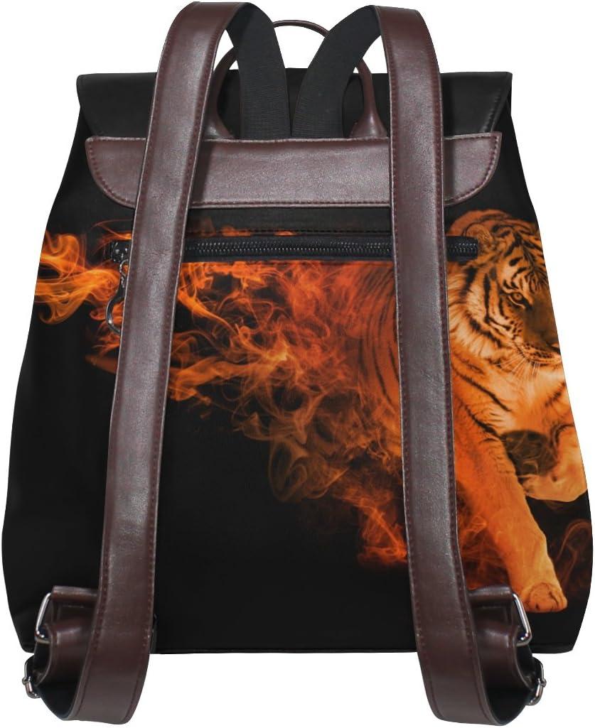 KUWT Fire Art Tiger PU Leather Backpack Photo Custom Shoulder Bag School College Book Bag Rucksack Casual Daypacks Diaper Bag for Women and Girl