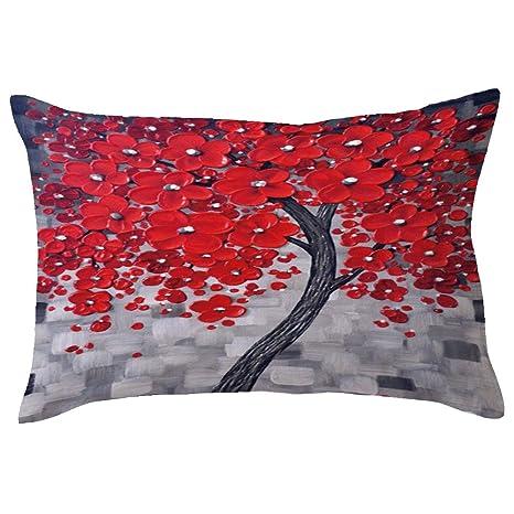 Sencillo Vida Fundas De Cojin Árbol de Flores Impresión Almohada Caso de Lino Pillow Case Sofa Cushion Decoración del Hogar para Salón, Dormitorio, ...
