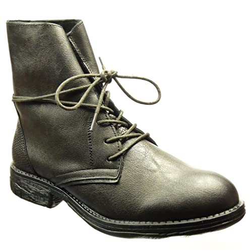 Angkorly - Zapatillas Moda Zapato Derby Botines Botas Militares Mujer Piel de Serpiente Talón Tacón Ancho 3 CM - Gris H102 T 41: Amazon.es: Zapatos y ...