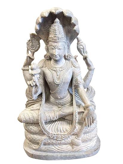 Amazon.com: Lord Vishnu Hari – Estatua de piedra para yoga ...