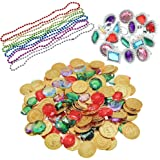 300 Pieces Pirate Toys Gold Coins Pirate Gems and Rings Necklaces for Pirate Party, Treasure Hunt Game and Party Favors