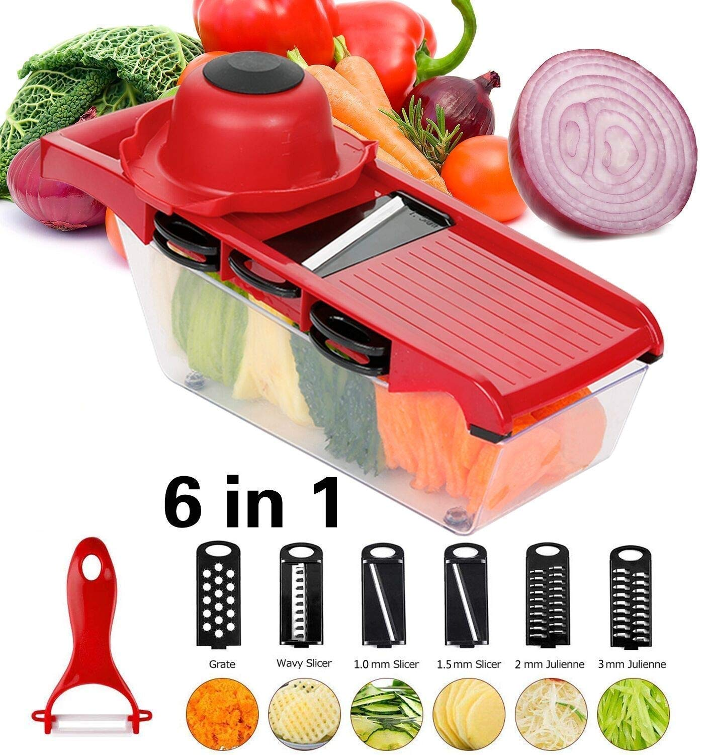 Puralast Mandoline Slicer with 6 Interchangeable Stainless Steel Spiralizer Vegetable Slicer & cutter by Puralast