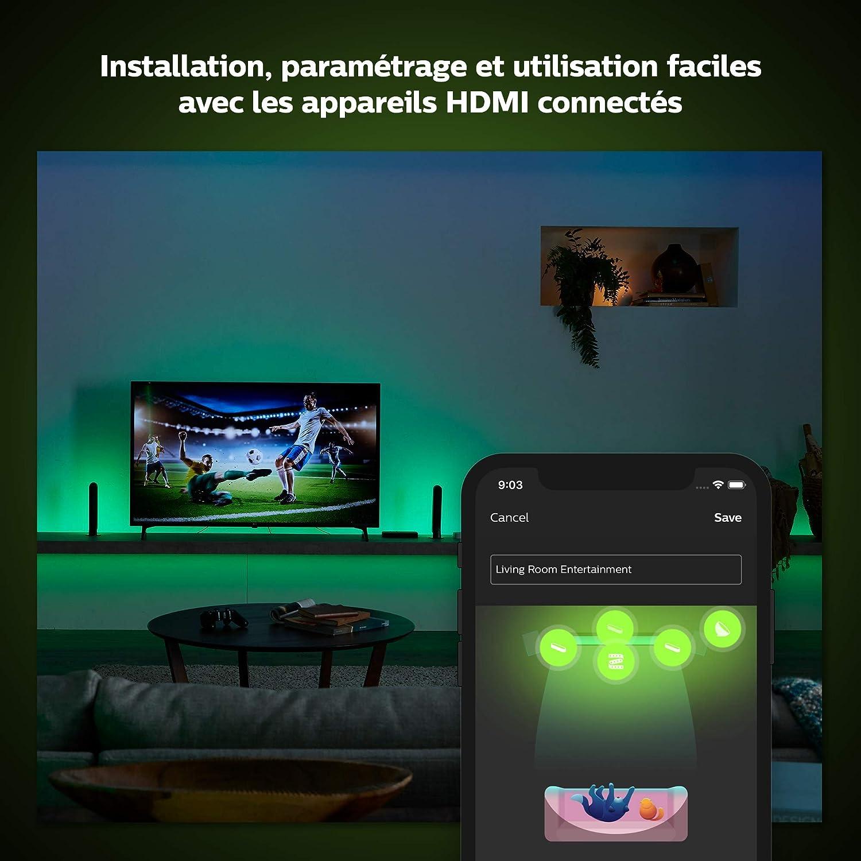 Philips Hue Play HDMI Sync Box caja de sincronización para TV / PC y luces Philips Hue, 4k, hace que la luz cambie con contenido de pantalla, Compatible con Alexa y Google