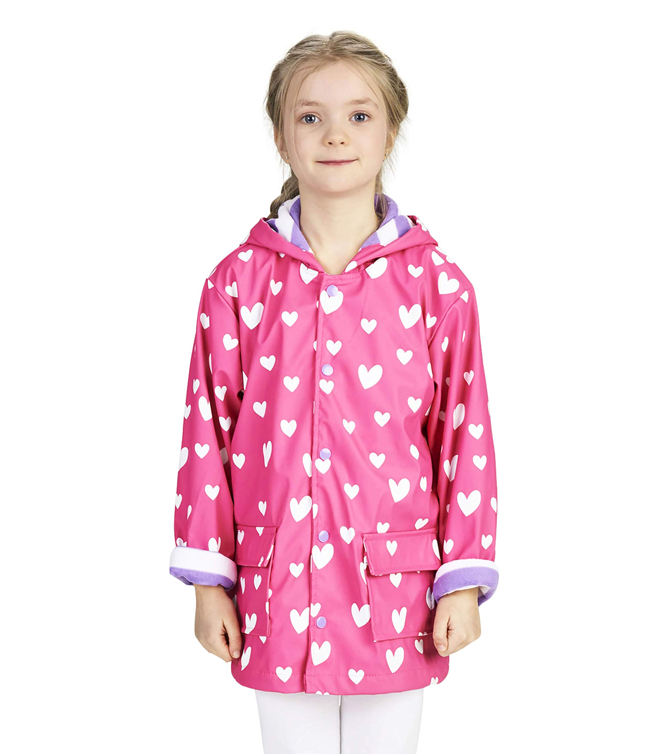 Hatley Girls' Big Printed Raincoats, Color Changing Sweethearts 12