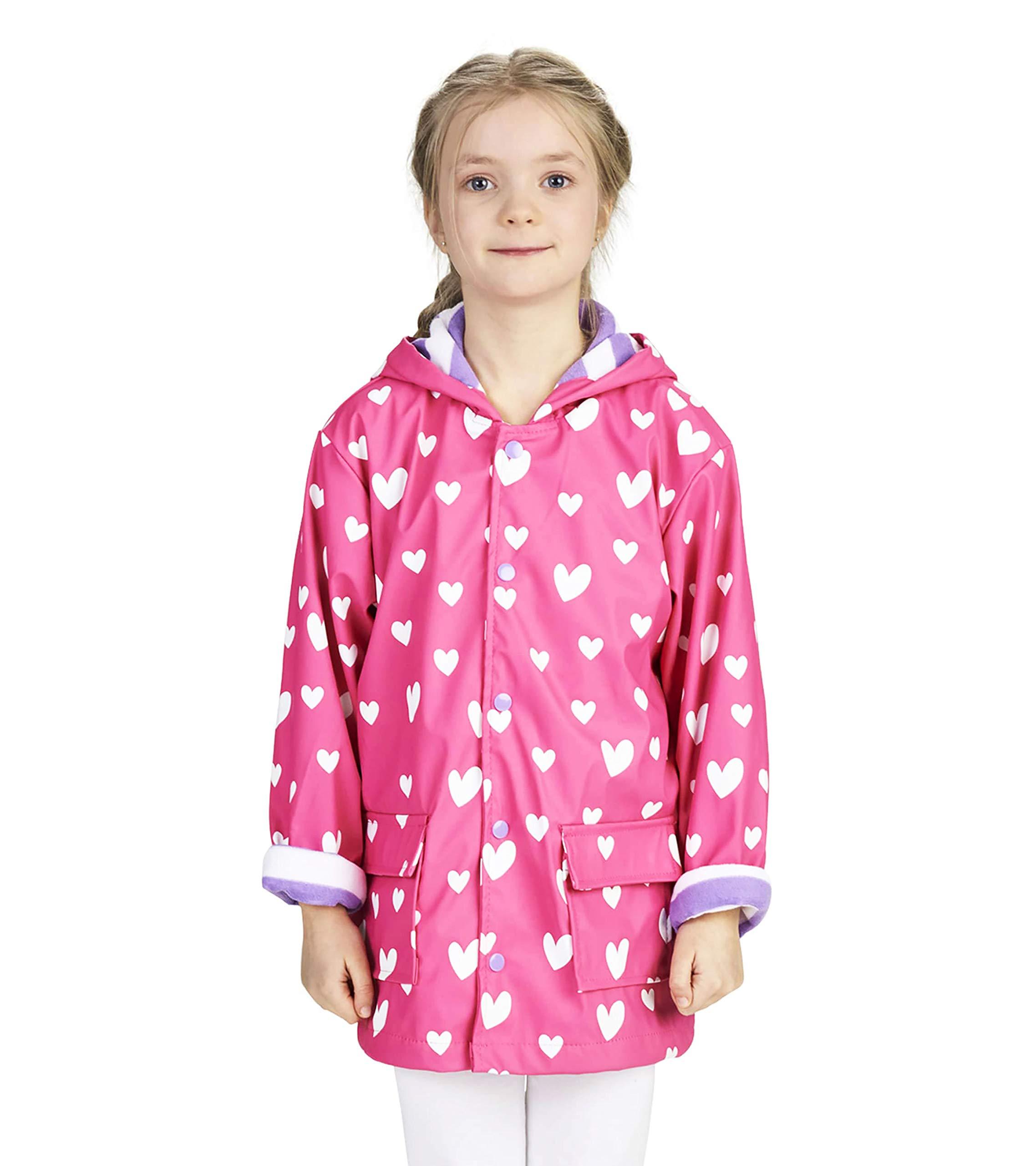 Hatley Girls' Little Printed Raincoats, Color Changing Sweethearts 2