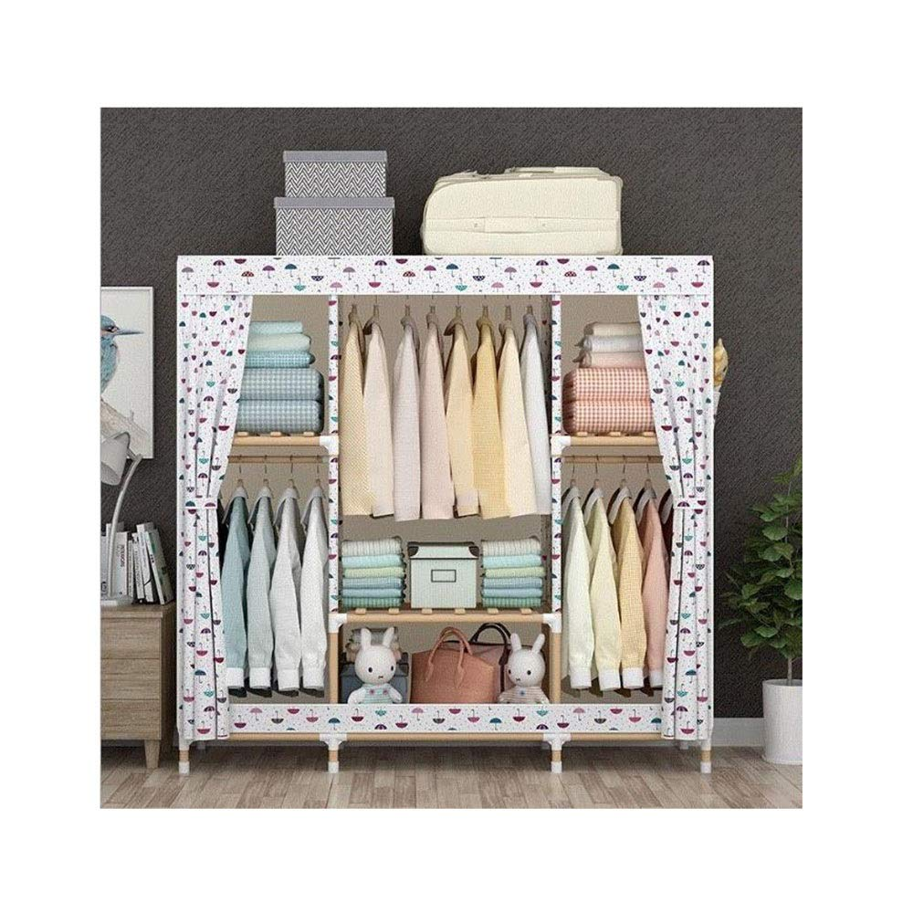 PPKQ Storage Organizer Portable Folding Simple Economical Assembly Combination Portable Wardrobe Dust-Proof Cover (Color : B) by PPKQ