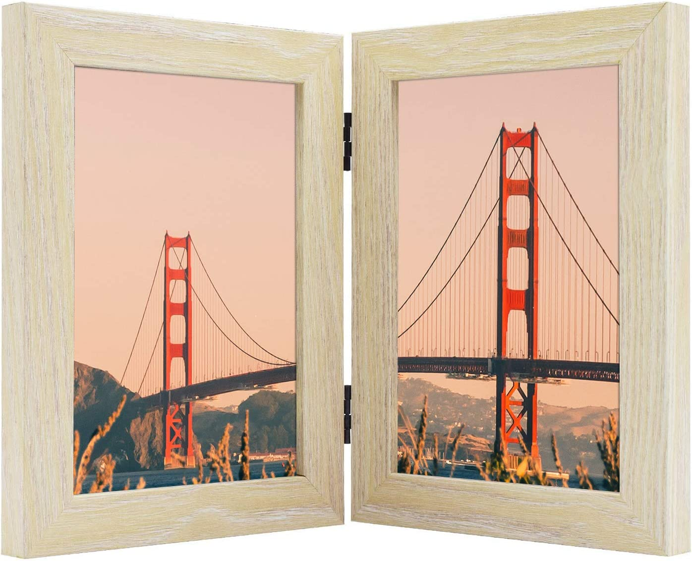 Frametory, Hinged Picture Frame with Glass Front Made to Display Two Pictures, Stands Vertically on Desktop or Table Top (Natural, 5x7 Double)