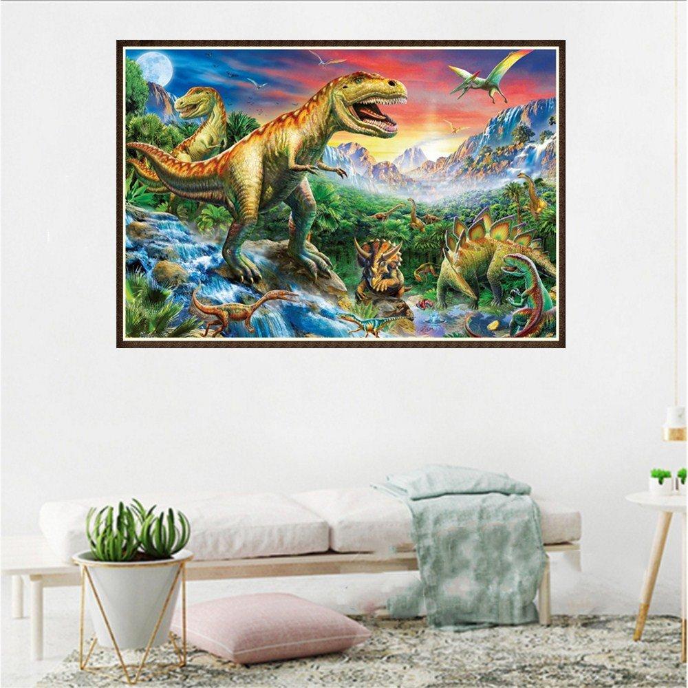 Dinosaure Diamond Painting Strass de peintures de Broderie 5D coll/é Point de Croix de Peinture de Diamant de DIY A Conqueror Peinture Diamant
