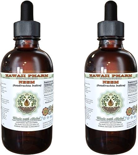 Neem Alcohol-Free Liquid Extract, Organic Neem Azadirachta Indica Dried Leaf Glycerite 2×4 oz