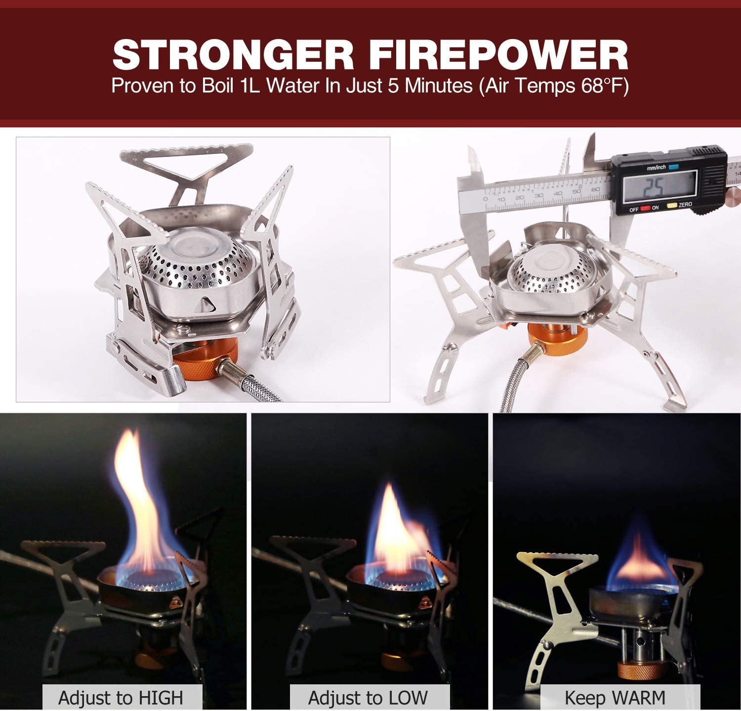 3500W Strong Firepower Windproof Camping Stove Lightweight for Outdoor CAMPMAX Portable Backpacking Stove with Piezo Ignition