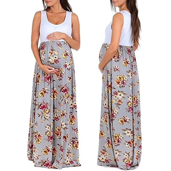 Ropa Embarazadas Verano Embarazadas Vestidos AIMEE7 Vestido De Maternidad Sin Mangas Vestido Estampado (S,