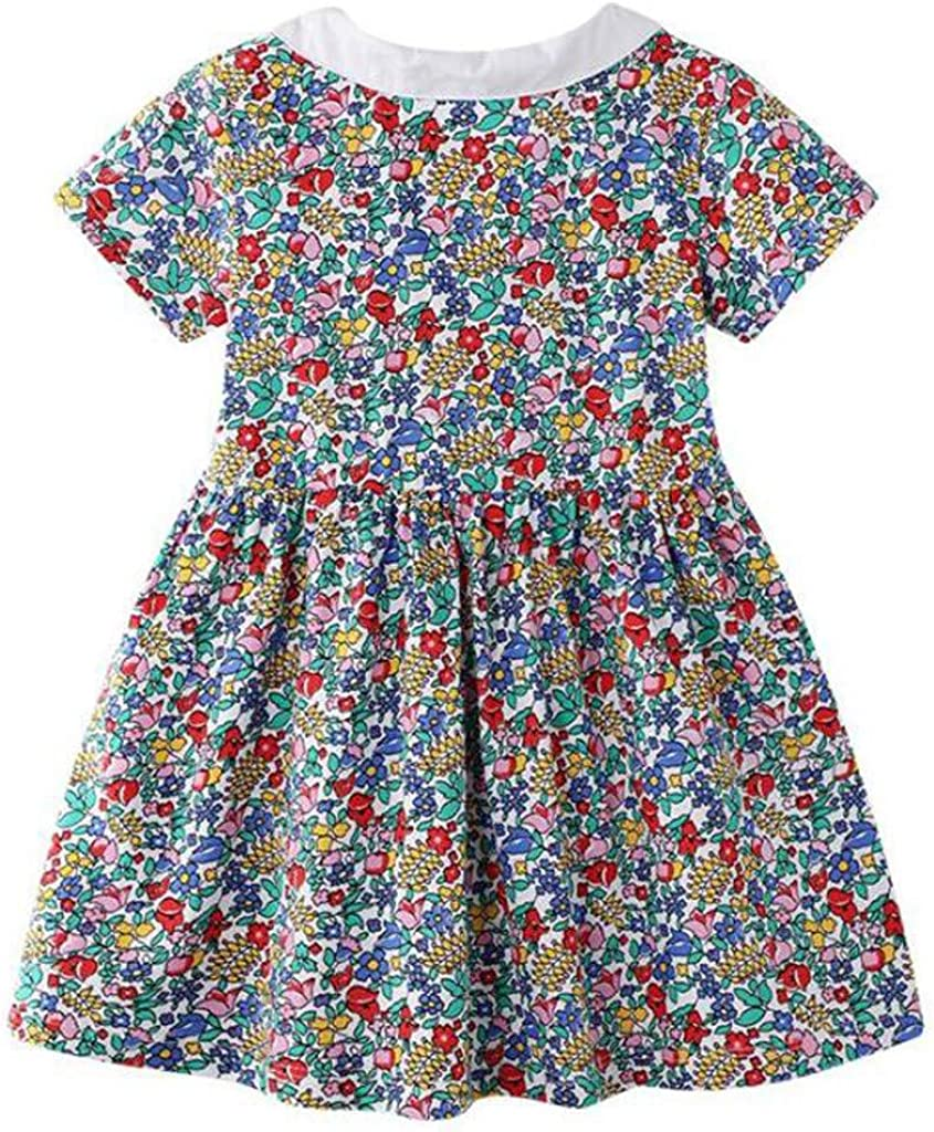 AMhomely Baby Clothing Sale Toddler Kids Baby Girls Floral Print Princess Dress Casual Outfits Clothes UK Size Birthday Gift