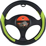 AOTOMIO Black & Green Car Steering Wheel Cover TPE Material Durable Non-slip Cover Universal 15 inch