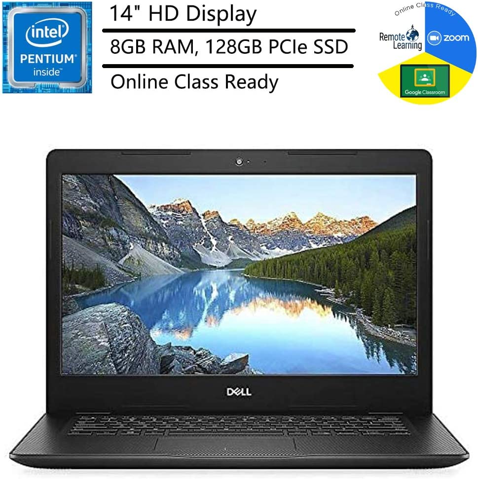 """Dell Inspiron 14 14"""" Laptop Computer_ Intel Pentium Gold 5405U 2.3GHz_ 8GB DDR4 RAM_ 128GB PCIe SSD_ Bluetooth 4.1_ USB 3.1_ Black_ Windows 10 Home in S_ Online Class Ready_ Webcam_ BROAGE Mouse Pad"""