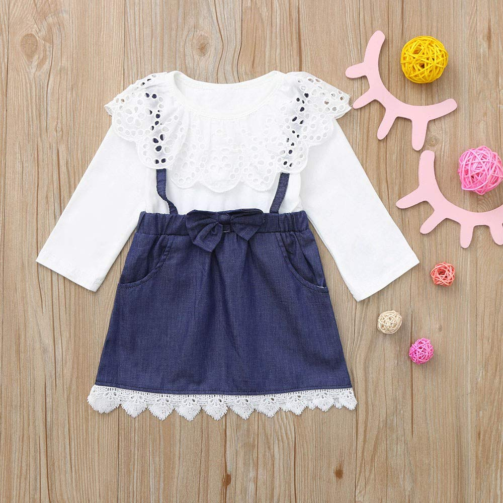KONFA Teen Toddler Baby Girls Lace Collar One-Piece Dress 1.5-6 Years,Little Princess Long Sleeve Skirt Clothes Set