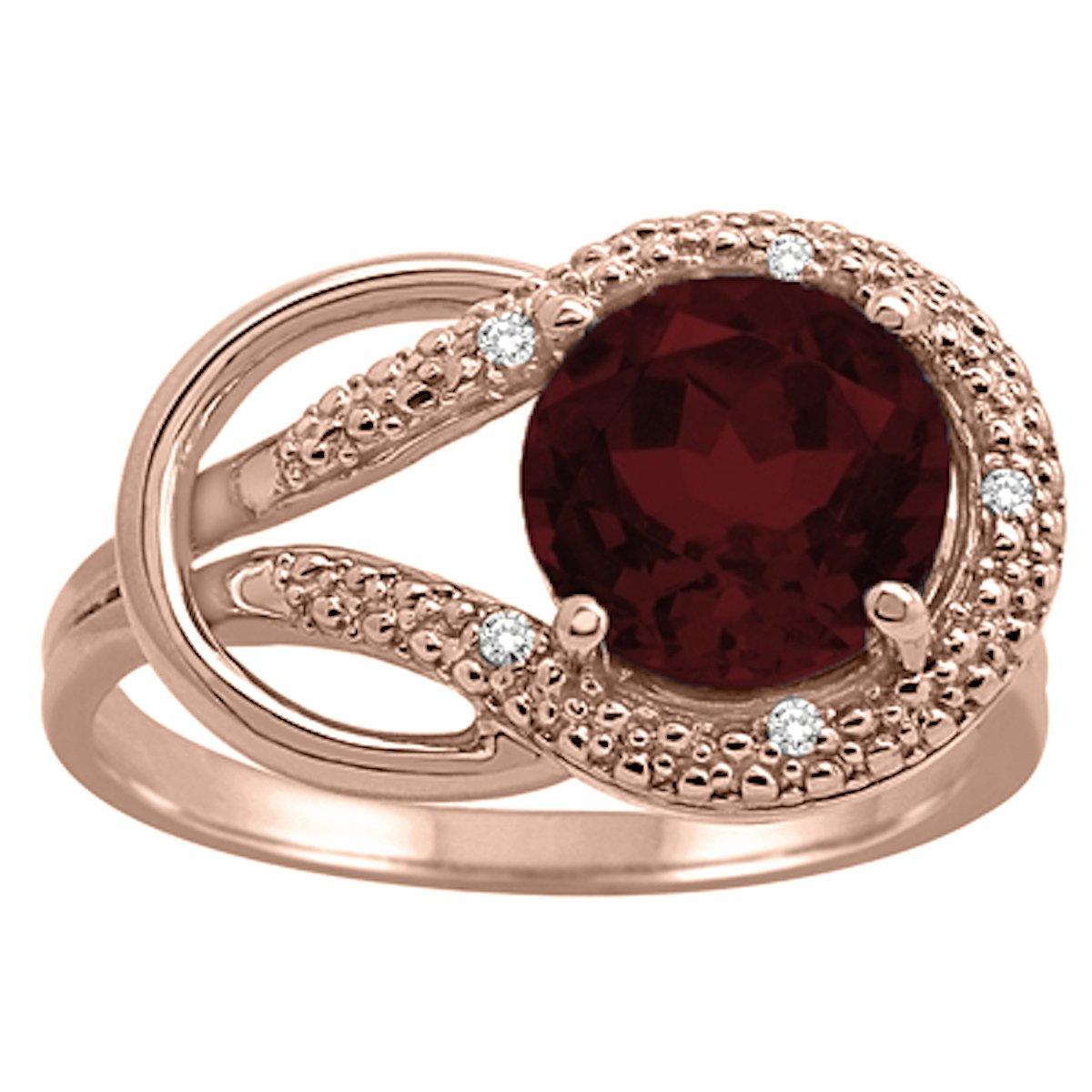 Garnet and Diamond Love Knot Ring in 10K Rose Gold