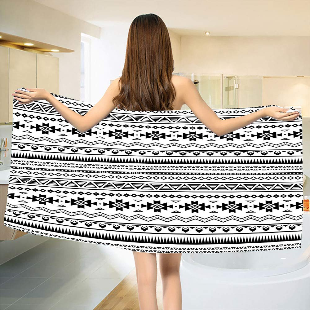 smallbeefly Native American Bath Towel Aztec American Folkloric Art Borders Ancient Tribal South America Culture Bathroom Towels Black White Size: W 31.5'' x L 77'' by smallbeefly
