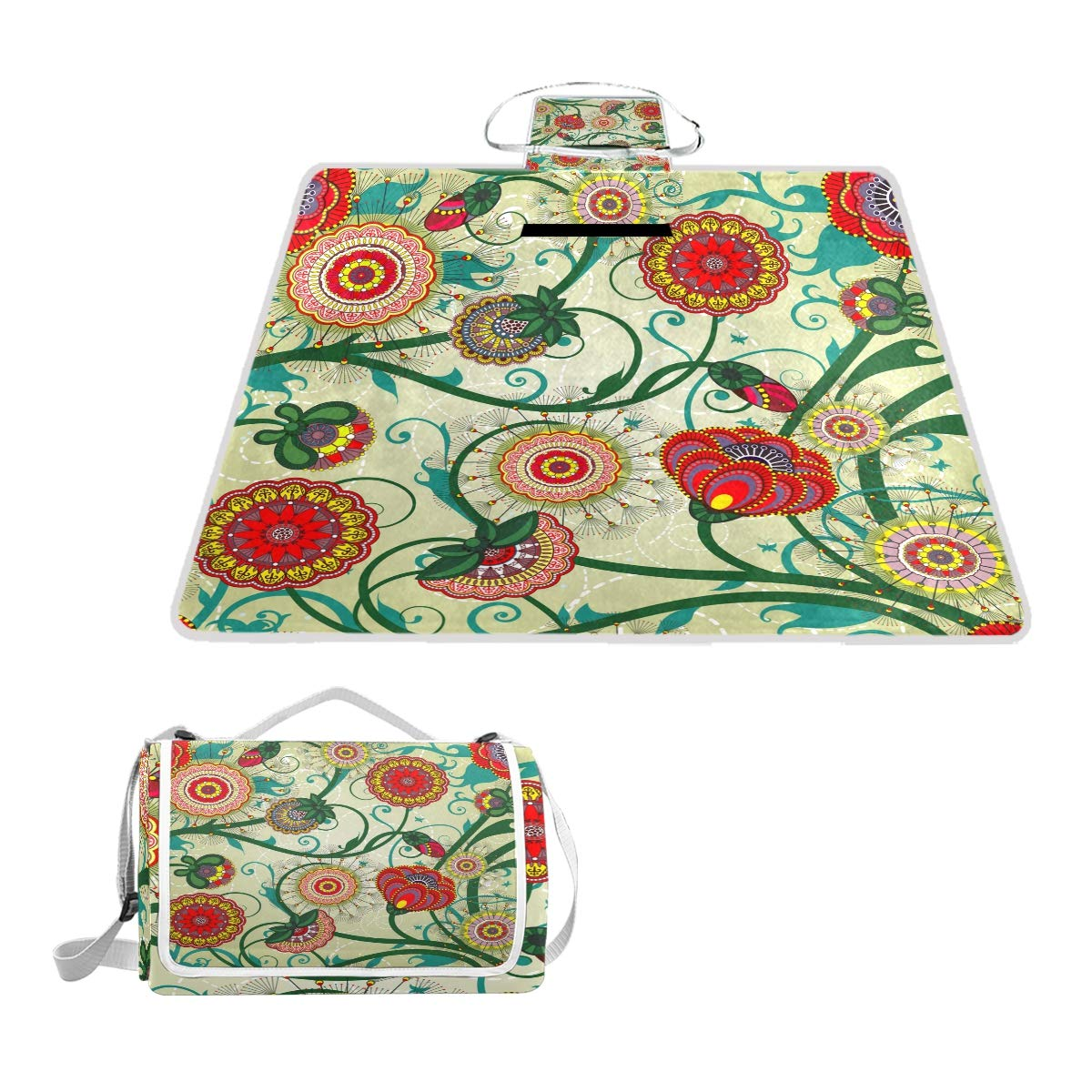 MAPOLO Floral Vintage Picnic Blanket Waterproof Outdoor Blanket Foldable Picnic Handy Mat Tote for Beach Camping Hiking by MAPOLO