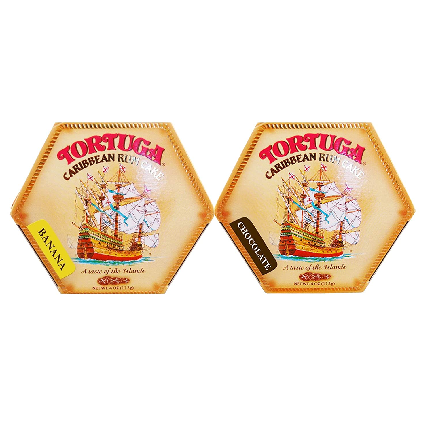 TORTUGA Caribbean Rum Cake- Banana and Chocolate Flavor - 4 oz (2 Pack) - The Perfect Premium Gourmet Gift - Great Cakes for Delivery