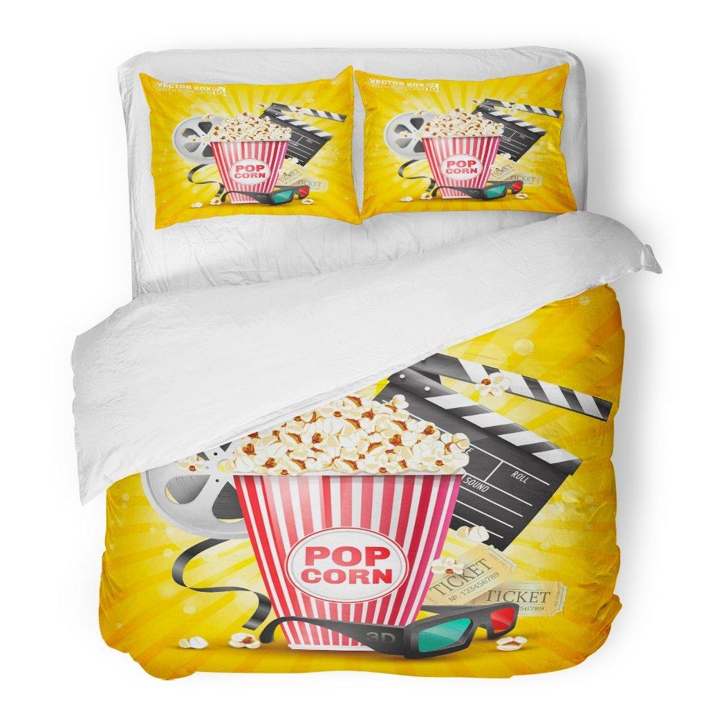 SanChic Duvet Cover Set Red Corn The Film Industry Box Popcorn Movie Yellow Pop Cinema Decorative Bedding Set 2 Pillow Shams King Size