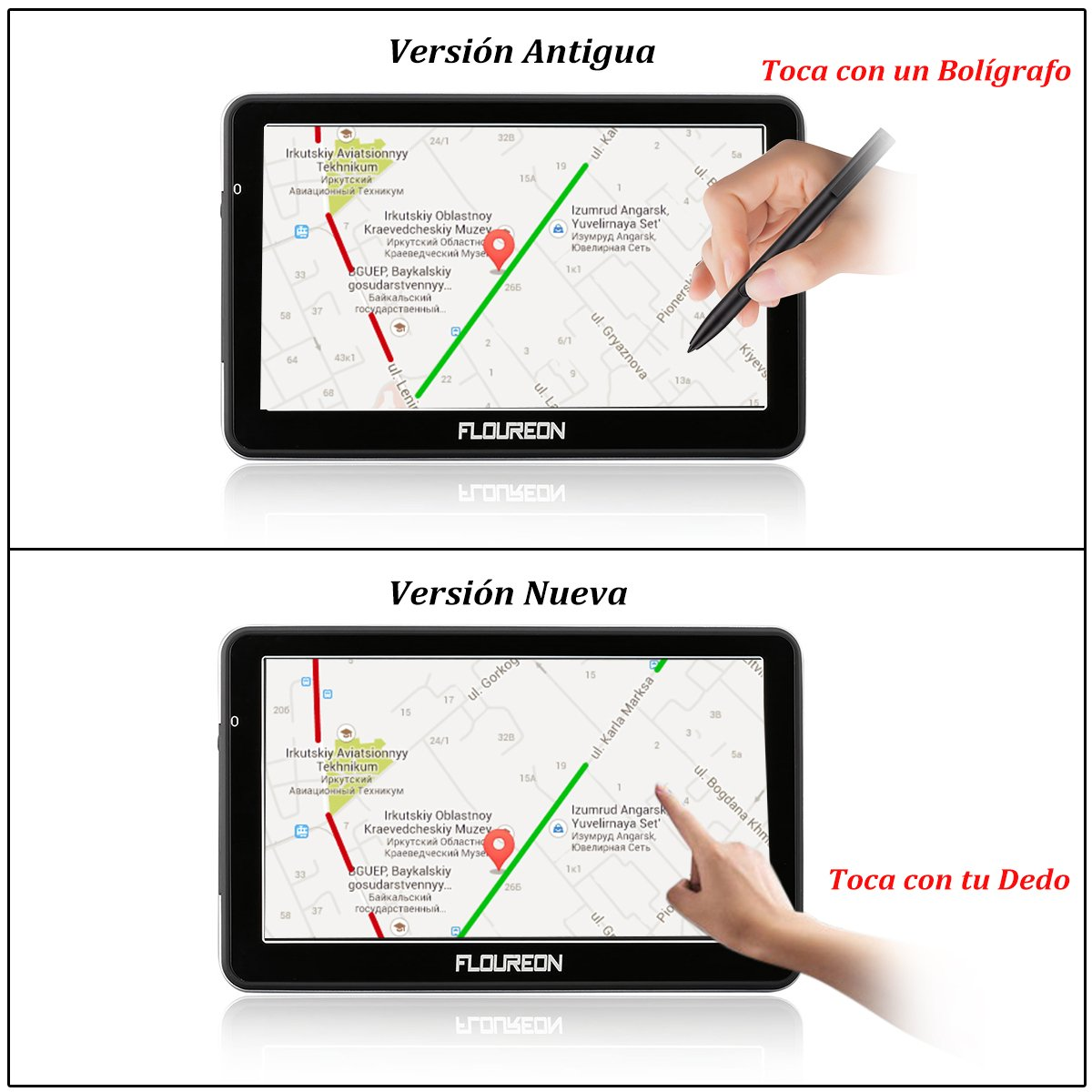 FLOUREON Pantalla táctil LCD capacitiva de 7 Pulgadas de navegación GPS de Coches Navegador de camión y Coche con actualizaciones de mapas de por Vida- Azul