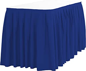 LinenTablecloth 14 ft. Accordion Pleat Polyester Table Skirt Royal Blue