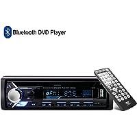 AGPTEK Autoradio Voiture Bluetooth avec Lecteur CD DVD 1 DIN Stéréo, Façade Autoradio avec Radio FM, Télécommande & Câble iOS Inclus, Support MP3/USB/SD/AUX/FM/iPod/iPhone