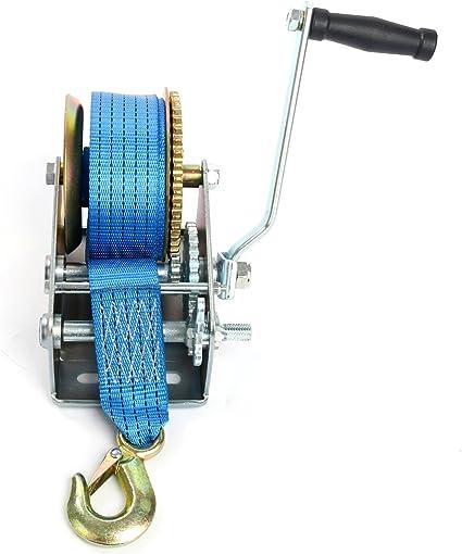 Freetec Handseilwinde Seilwinde Mit Blau Polyester Seilzug Bergungswinde Bootswinde Handwinde Winde 10m 2500lbs Baumarkt