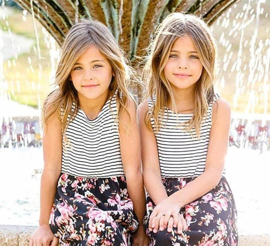 Veepola Kid Girls Striped Floral Print Splice Casual Dress Sleeveless Beach Sundress