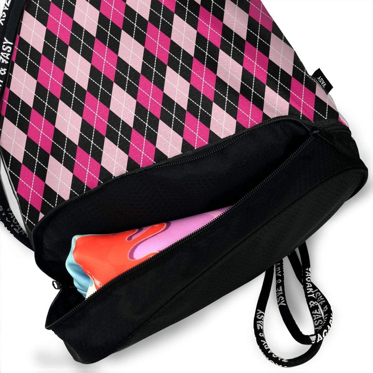 HUOPR5Q Pink Red Plaid Drawstring Backpack Sport Gym Sack Shoulder Bulk Bag Dance Bag for School Travel