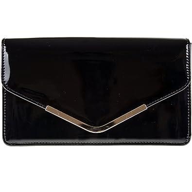 ed257ad1d8d fi9® Patent Leather Bridal Wedding Evening Handbag Party Purse Clutch  Shoulder Hand Bag (Black