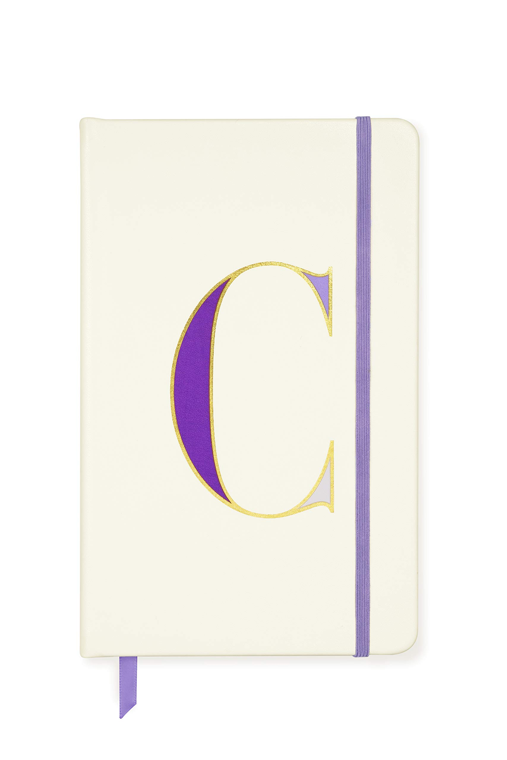Kate Spade New York Take Note Large Leatherette Initial Notebook, 8.25'' x 5.25'' with 168 Pages, C (Purple)