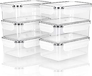 Mengico Clear Food Storage Containers, BPA Free Plastic Food Containers, Microwave,Freezer,Dishwasher Safe, Medium, 4.8 Cup(40oz), 6 Pack (6 Containers and 6 Lids)