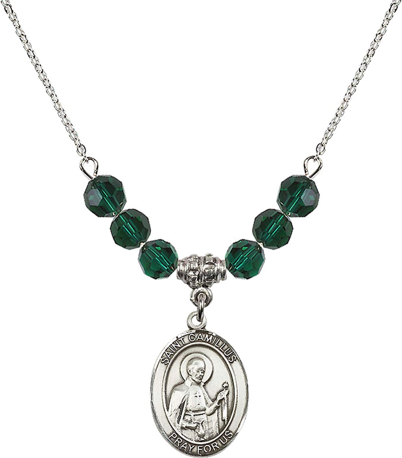 Bonyak Jewelry 18 Inch Rhodium Plated Necklace w// 6mm Green May Birth Month Stone Beads and Saint Camillus of Lellis Charm