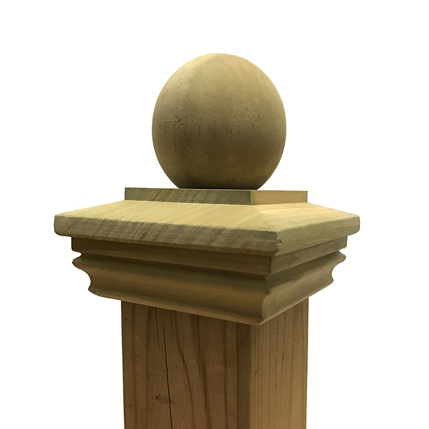 Pressure Treated Wood Garabaldi Ball Post Cap for 3.5 x 3.5 Fence & Deck Posts Rail Simple
