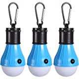 Camping Light, Peyou [3 Pack] 4 Mode Upgraded 100LM Versatile Portable Water-resistant Tent Lantern Emergency Light Bulb with Carabiner for Camping, Hiking, Fishing, Emergency & Other Indoor and Outdoor Activities [Battery Powered]- BLUE