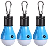 3 Pack Tent LED Light Bulb,PEMOTech Portable Lantern Emergency Night for Home, Fishing, Camping, Hiking,Backpacking & Other Indoor and Outdoor Activities,Battery Powered & Water Resistant Gift