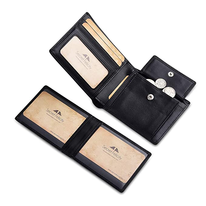 3f11ea79617c Stylish Bifold Wallet for Men Flip ID Window RFID Blocking Top Finest  Leather (Black)