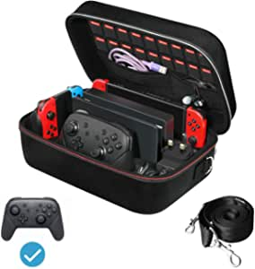 iVoler Carrying Storage Case for Nintendo Switch/Switch OLED Model (2021), Portable Travel All Protective Hard Messenger Bag Soft Lining 18 Games for Switch Console Pro Controller & Accessories Black
