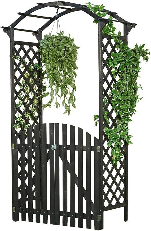Arco Negro – Puerta Pergola + puerta madera Rose Rank ayuda enrejado enrejado: Amazon.es: Jardín