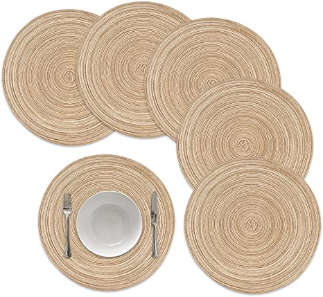 Amazon Com Famibay Round Placemats Round Braided Place Mats For Dining Table Heat Insulation Table Mats For Kitchen 15 Inches Khaki Set Of 6 Home Kitchen