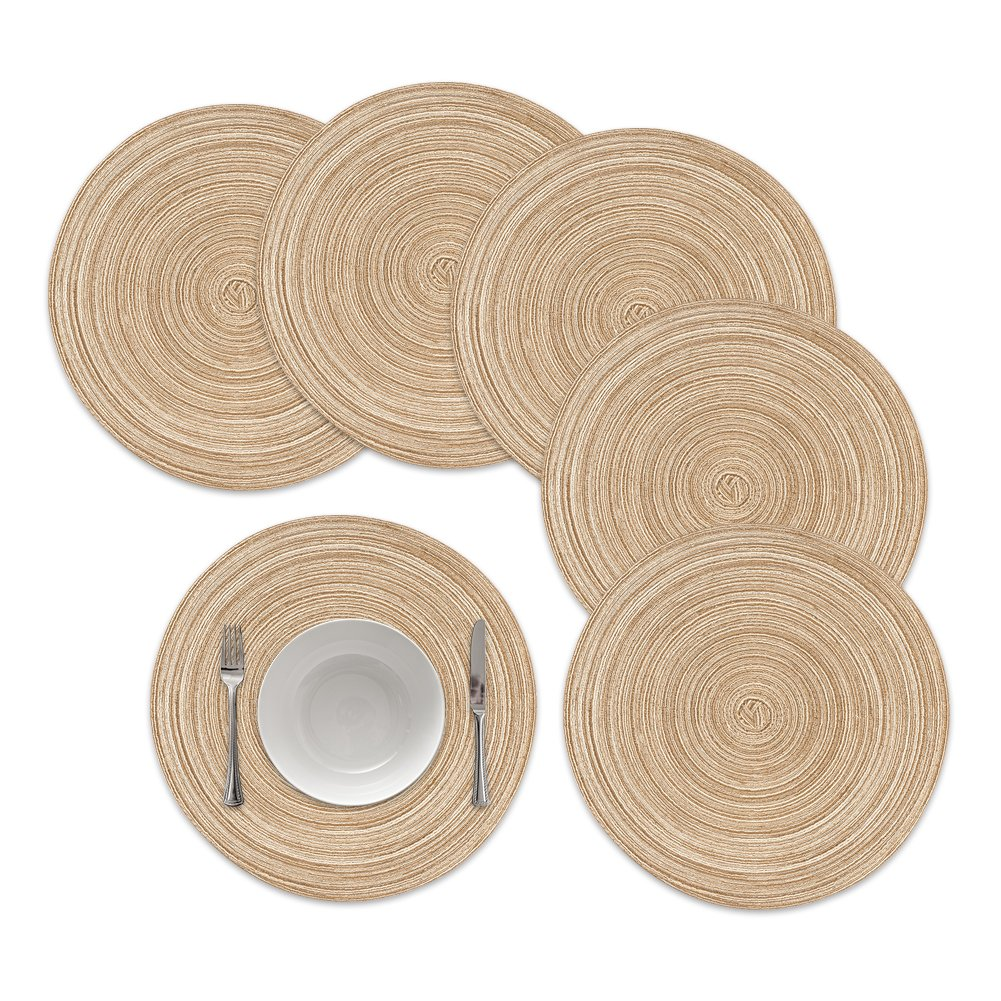 famibay Round Placemats Braided Woven Place Mats or Charger for Dining Table Heat Insulation Table Mats for Kitchen 15 Inches Set of 6 Multi Color WXBZFAM-10299