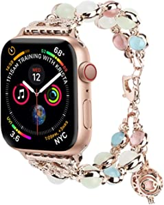 Fashion Band Compatible with Apple Watch 38/40mm 42/44mm iWatch Series 5 4 3 2 1, Adjustable Night Luminous Pearl Bracelet w/Essential Oil/Perfume Storage for Women/Girl (Rose Gold, 42mm/44mm-S)