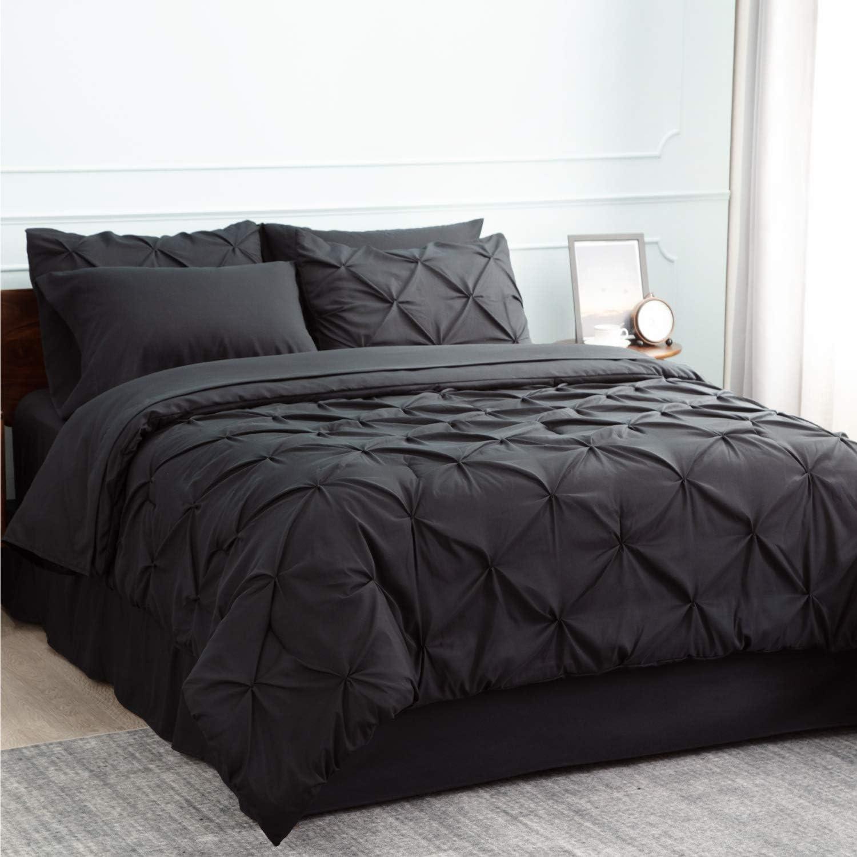 Bedsure Black Comforter Set Black Twin Comforter Black Twin Comforter Set 6 Pieces - 1 Comforter 68x88 Inches, 1 Pillow Sham, 1 Flat Sheet, 1 Fitted Sheet, 1 Bed Skirt, 1 Pillowcase