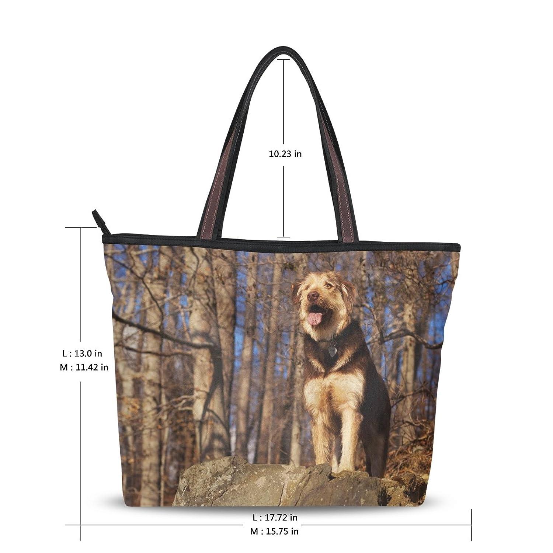 INGBAGS Fashion Large Tote Shoulder Bag America Dog Pattern Women Ladies Handbag
